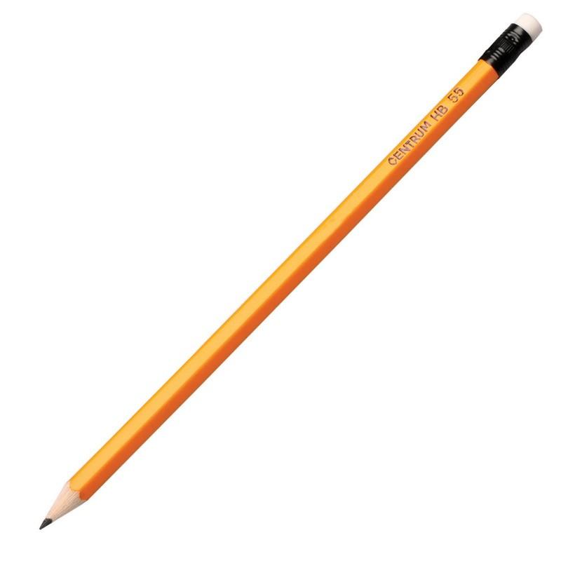 Harilik pliiats CENTRUM 55, HB kust.-kummiga, teritatud
