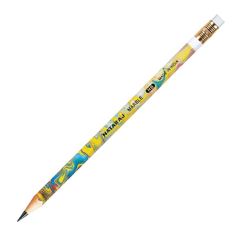 Harilik pliiats Nataraj Marble (Hex) HB, kust.kummiga, teritatud, 12 tk