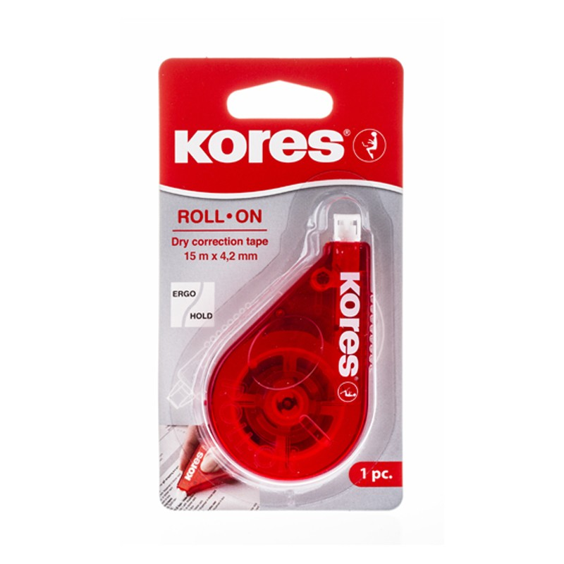 Korrektuurlint Kores ROLL ON RED, 4.2 mm x 15 m