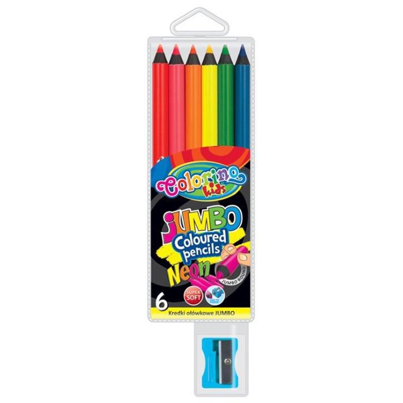 Värvipliiatsid Colorino JUMBO, 6 erinevat neoon värvi