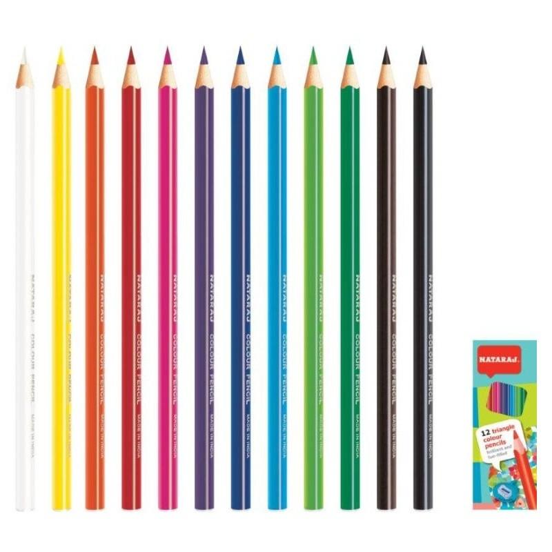 Värvipliiatsid Nataraj kolmnurksed, 12 värvi