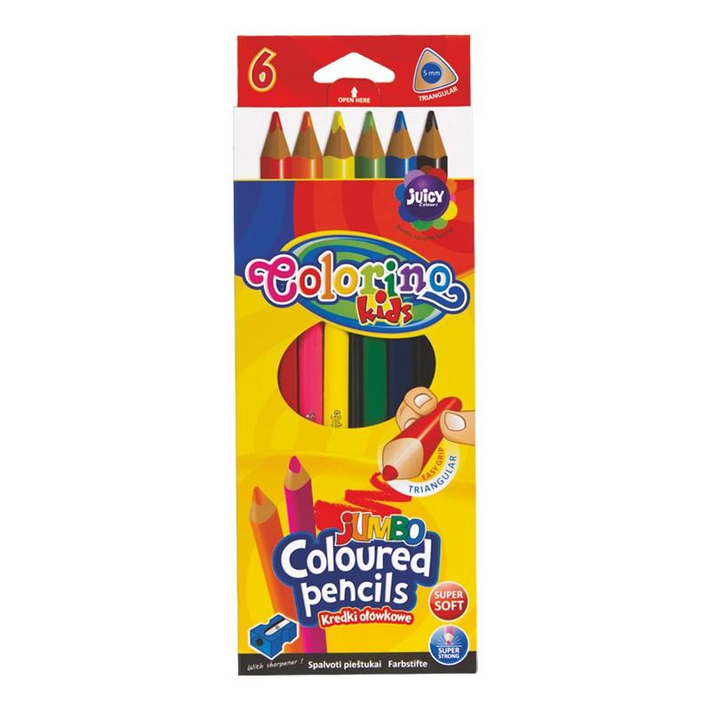 Värvipliiatsid COLORINO JUMBO, kolmnurksed,  6 värvi