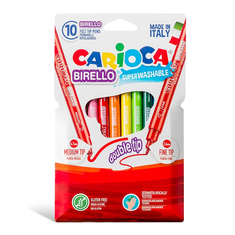 Viltpliiatsid Carioca Birello, kahe otsikuga, 10 värvi