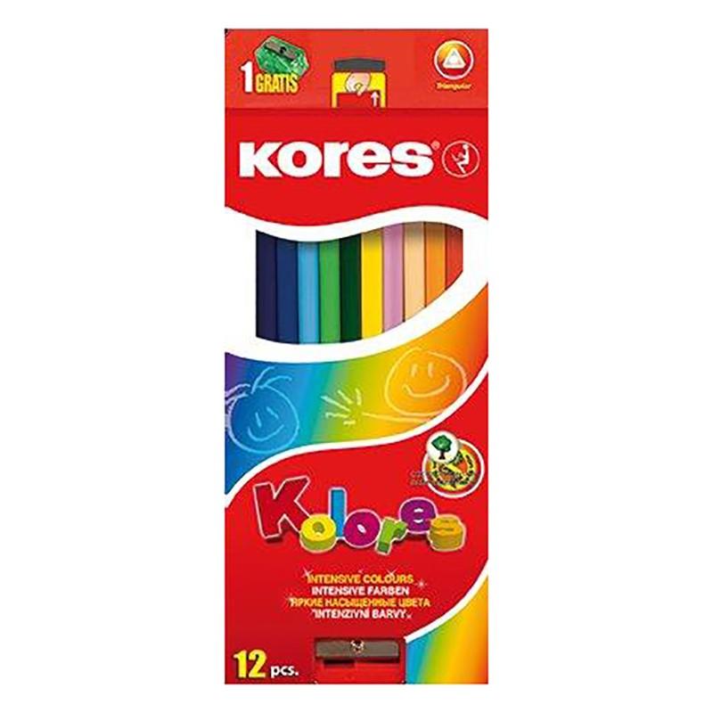 Värvipliiatsid Kores Kolores kolmnurkne, 12 värvi
