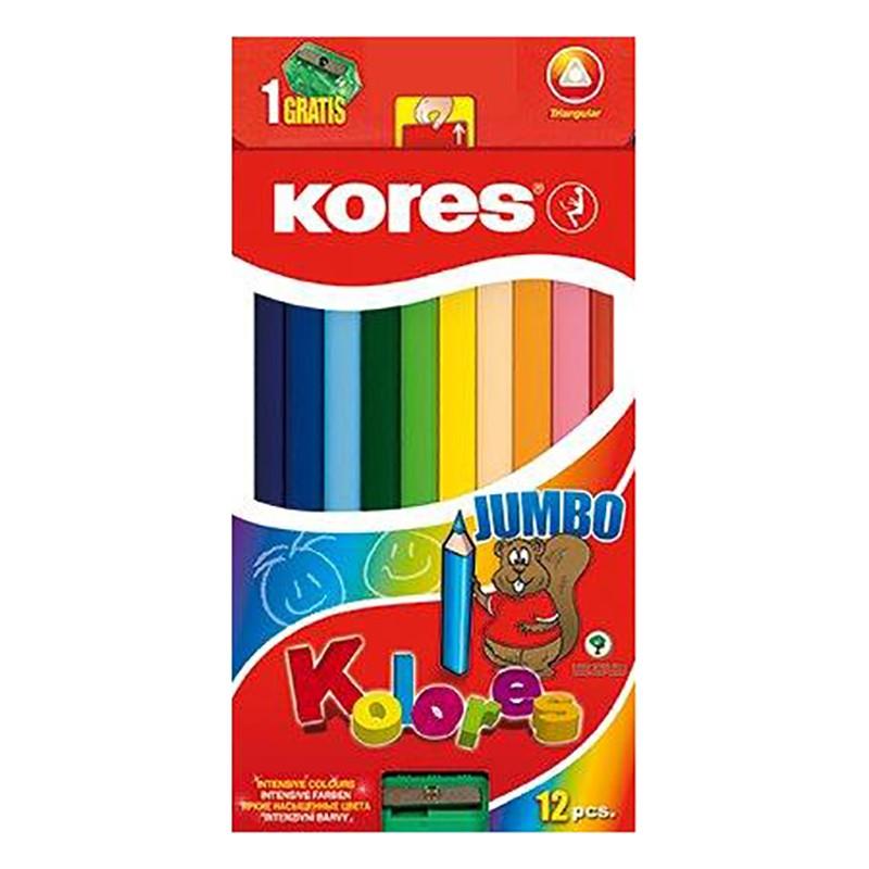Värvipliiatsid Kores Kolores Jumbo kolmnurksed, 12 värvi