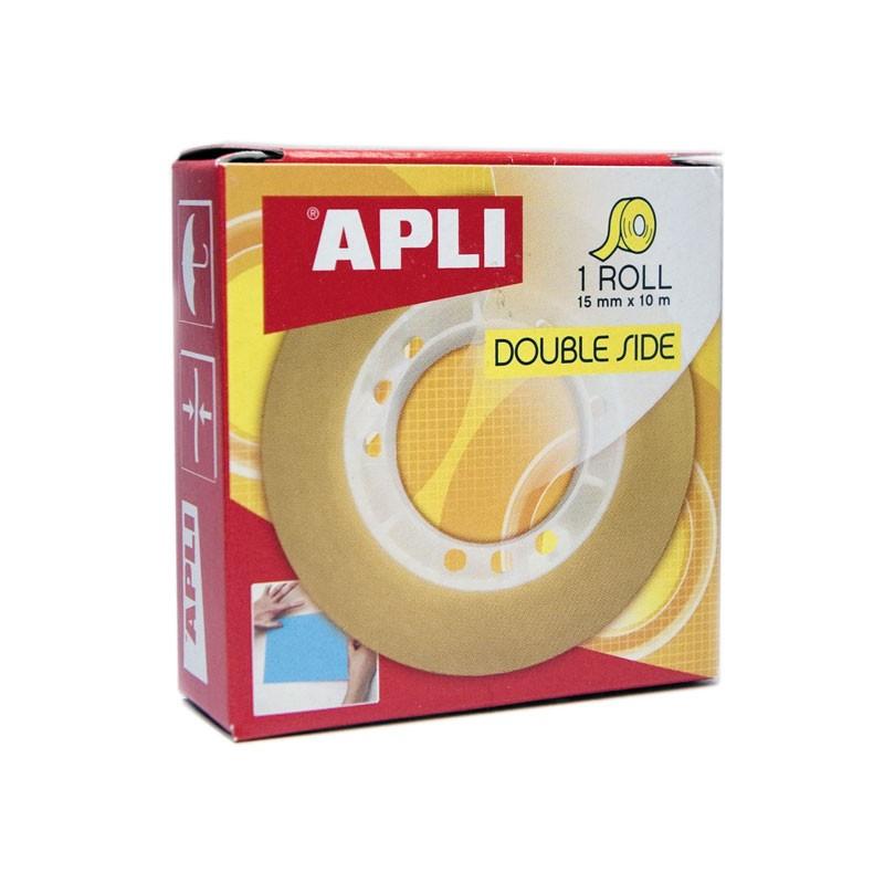 Kahepoolne teip APLI, 15mmx10m, läbipaistev