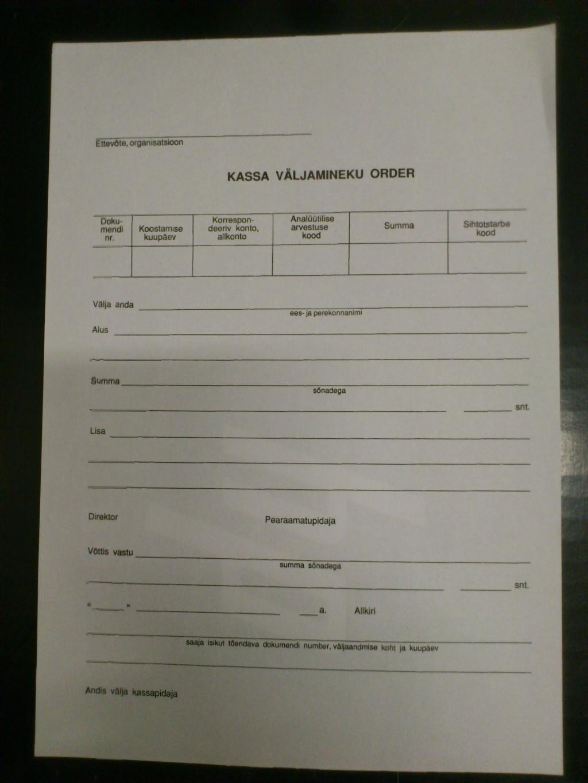 Blank. kassa väljamineku order A5, 100lk
