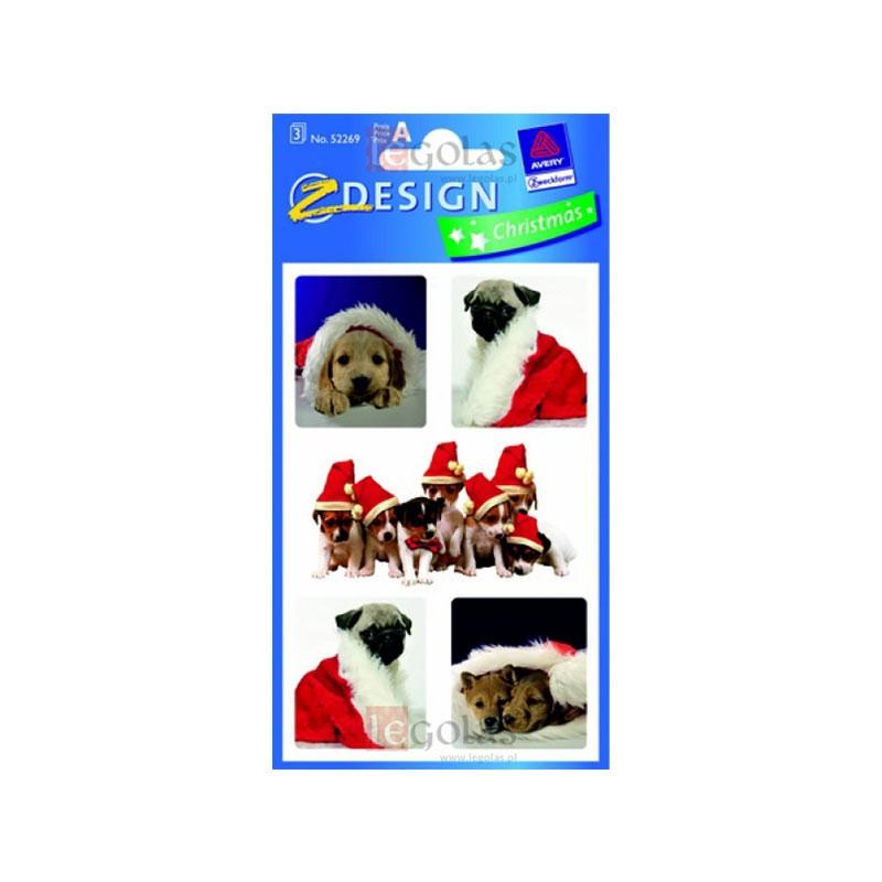 Kleebised AVERY, jõulud, koerad, kolm lehte