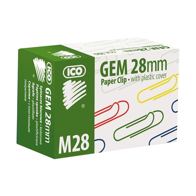 Kirjaklambrid Ico 28mm, värviline plast,100 tk