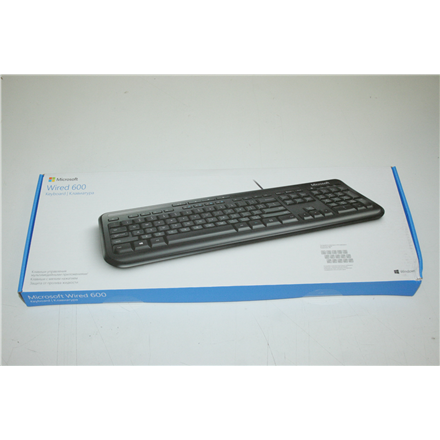 SALE OUT. Microsoft Wired Keyboard 600 USB Port Russian Hdwr Black Microsoft Wired Keyboard 600  ANB-00018 Standard, Wired, Keyboard layout RU, DAMAGED PACKAGING, Wireless connection no, USB, Black, Numeric keypad