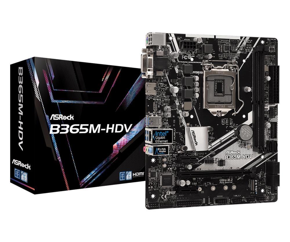 Mainboard|ASROCK|Intel B365 Express|LGA1151|MicroATX|2xPCI-Express 3.0 1x|1xPCI-Express 3.0 16x|1xM.2|Memory DDR4|Memory slots 2|1x15pin D-sub|1xDVI|1xHDMI|2xUSB 2.0|4xUSB 3.1|1xPS/2|1xRJ45|3xAudio port|B365M-HDV