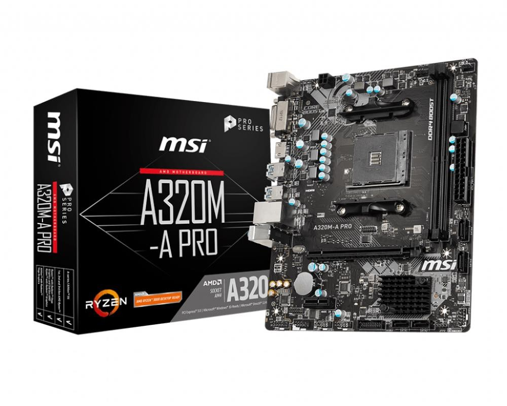 Mainboard|MSI|AMD A320|SAM4|MicroATX|1xPCI-Express 2.0 1x|1xPCI-Express 3.0 16x|Memory DDR4|Memory slots 2|1xDVI|1xHDMI|1xAudio-In|1xAudio-Out|1xMicrophone|2xUSB 2.0|4xUSB 3.2|2xPS/2|1xRJ45|A320M-APRO