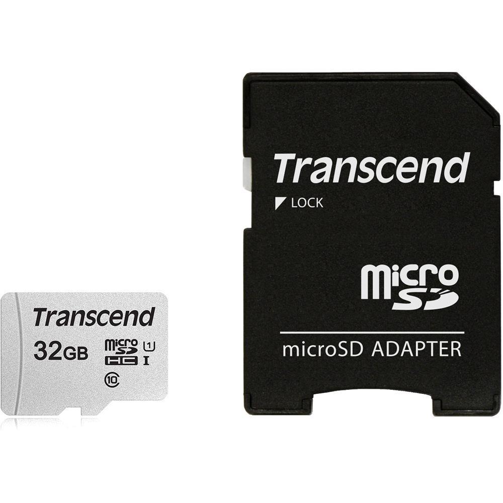 MEMORY MICRO SDHC 32GB W/ADAPT/C10 TS32GUSD300S-A TRANSCEND