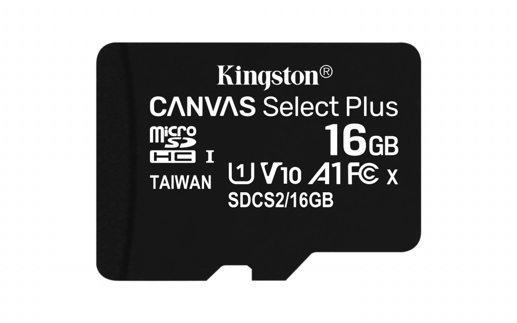Kingston Canvas Select Plus UHS-I 16 GB, microSDHC, Flash memory class 10, SD Adapter