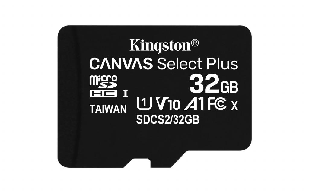 Kingston Canvas Select Plus UHS-I 32 GB, microSDHC, Flash memory class 10, SD Adapter