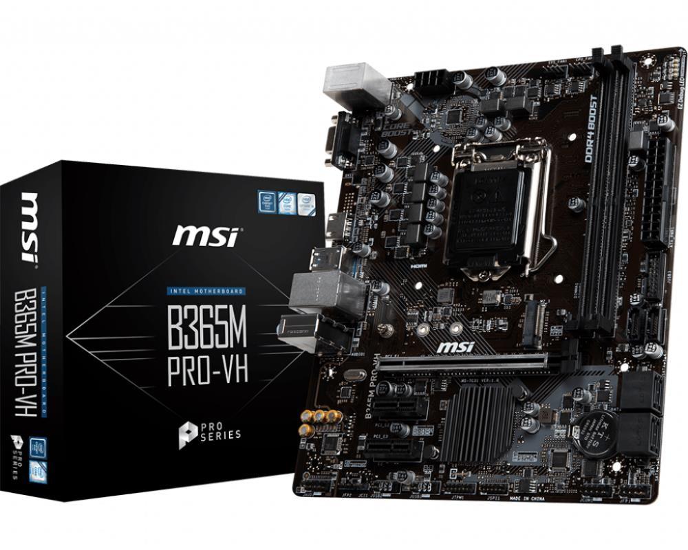Mainboard MSI Intel B365 Express LGA1151 MicroATX 2xPCI-Express 3.0 1x 1xPCI-Express 3.0 16x 1xM.2 Memory DDR4 Memory slots 2 1x15pin D-sub 1xHDMI 2xUSB 2.0 4xUSB 3.1 1xPS/2 1xRJ45 3xAudio port B365MPRO-VH