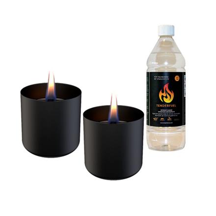 Tenderflame Gift Set, 2 Tabletop burners + 0,5 L fuel,  Lilly 8 cm Black