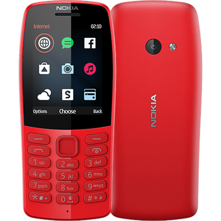 "Nokia 210 Red, 2.4 "", TFT, 240 x 320 pixels, 16 MB, Dual SIM, Bluetooth, 3.0, USB version microUSB, Main camera 0.3 MP, 1020 mAh"