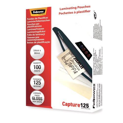 LAMINATOR POUCH GLOSSY CARD/125 100PCS 5306302 FELLOWES