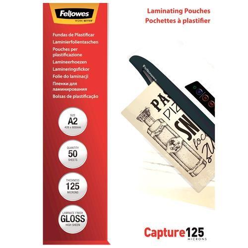 LAMINATOR POUCH GLOSSY/A2 125 50PCS 5309302 FELLOWES