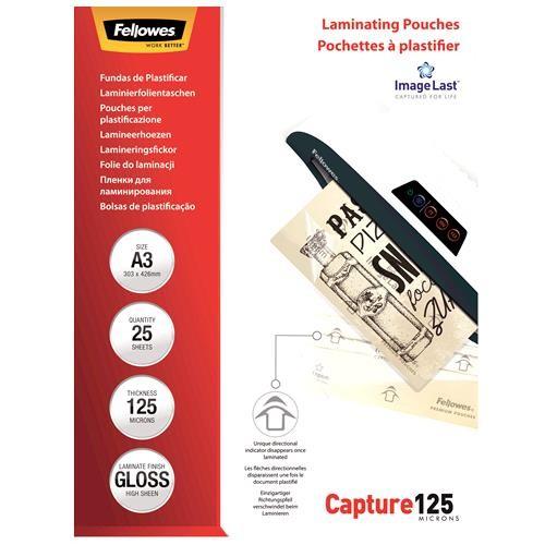 LAMINATOR POUCH GLOSSY/A3 125 25PCS 5396501 FELLOWES