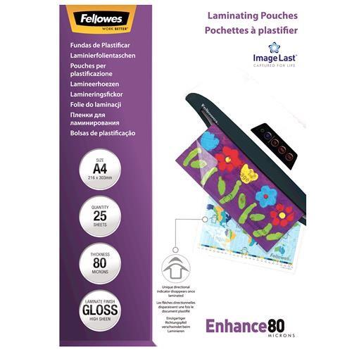 LAMINATOR POUCH IMAGELAST/A4 80 25PCS 5396205 FELLOWES