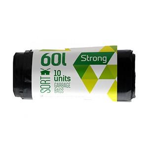 Prügikotid Sortex 60L, 60x75cm, LDPE 30mic, 10 tk, must