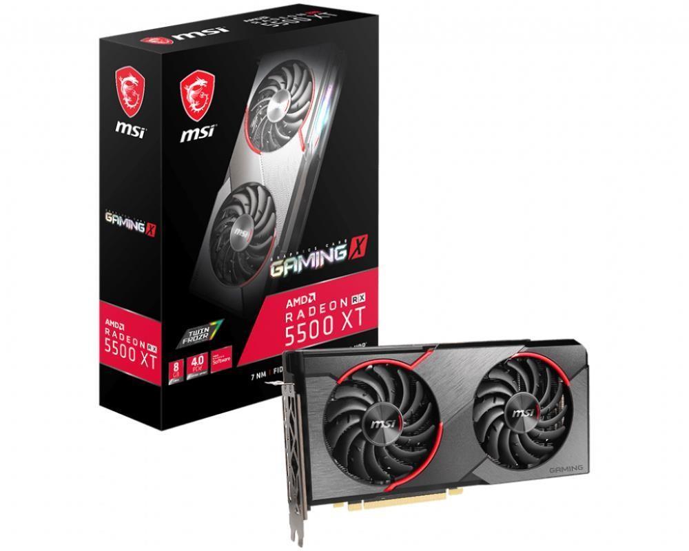Graphics Card|MSI|AMD Radeon RX 5500 XT|8 GB|128 bit|PCIE 4.0 16x|GDDR6|GPU 1685 MHz|Dual Slot Fansink|1xHDMI|3xDisplayPort|RX5500XTGAMINGX8G