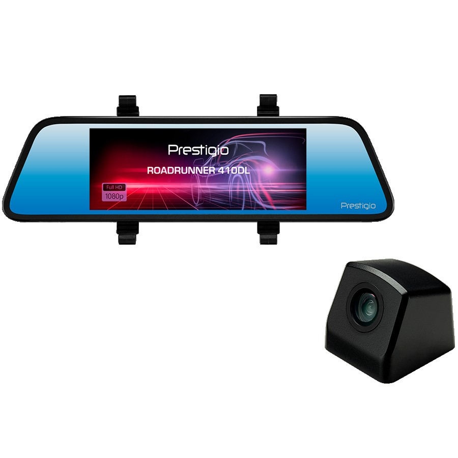 Prestigio RoadRunner 410DL, 6.86'' (1280x480) touch display, Dual camera: front - FHD 1920x1080@30fps, HD 1280x720@30fps, rear - VGA 640x480@30fps, CPU SSC8336, 2 MP CMOS GC2063 image sensor, 12 MP camera, 100° Viewing Angle, Mini USB, Motion Detection, G-sensor, Cyclic Recording, OVP, NTC, color/black, Plastic case