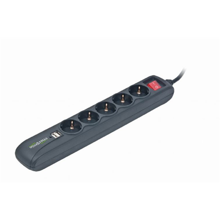 EnerGenie SPG5-U2-5 Power strip with USB charger, 5 sockets, USB 2A, 1.5 m