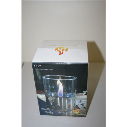 SALE OUT. TenderFlame, 1W Glass, Lilly 10 cm, Silver Tenderflame Table burner Lilly 1W Glass Silver, DEMO, NOT USED, SCRATCHED, PAINT DEFECT