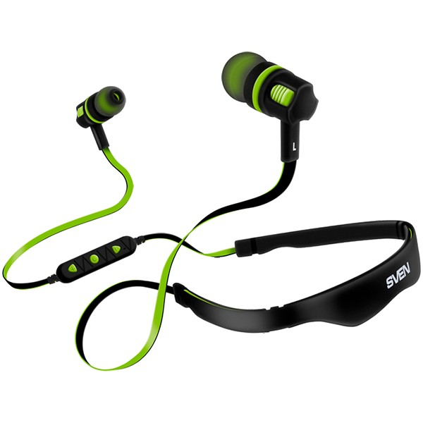 Wireless In-ear stereo earbuds with microphone SVEN E-217B, black-green, SV-016784