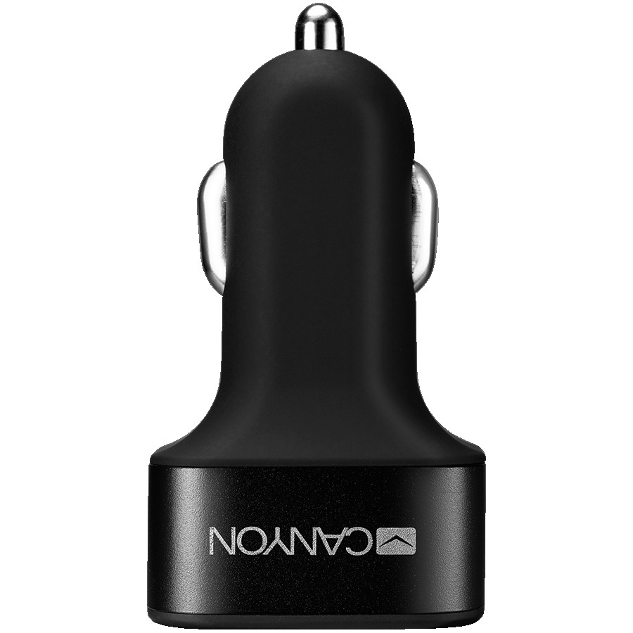 CANYON C-06 Universal 3xUSB car adapter, Input 12V-24V, Output 5V-3.1A, black rubber coating+black metal ring (side with USB is in plastic), 66*35.2*25.1mm, 0.025kg