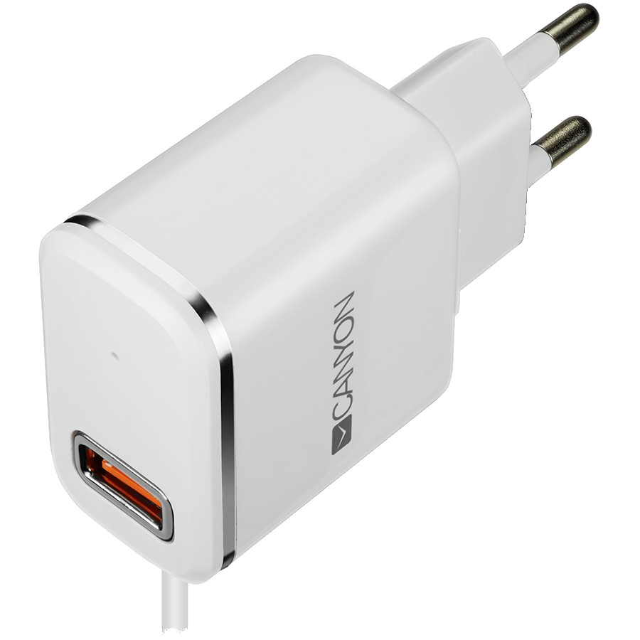 CANYON H-043 Universal 1xUSB AC charger (in wall) with over-voltage protection, plus lightning USB connector, Input 100V-240V, Output 5V-2.1A, with Smart IC, white(silver electroplated stripe), cable length 1m, 81*47.2*27mm, 0.059kg