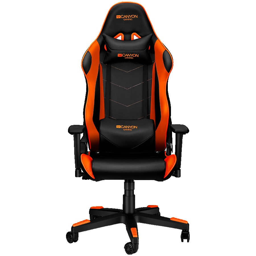 CANYON Deimos GС-4 Gaming chair, PU leather, Original foam and Cold molded foam, Metal Frame, Top gun mechanism, 90-165 dgree, 3D armrest, Class 4 gas lift, Nylon 5 Stars Base, 60mm PU caster, black+Orange.