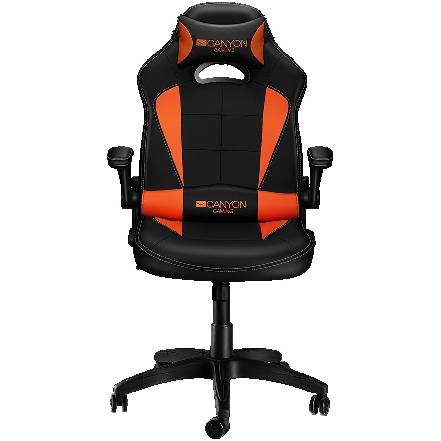 Gaming chair, PU leather, Original and Reprocess foam, Wood Frame, Top gun mechanism, up and down armrest, Class 4 gas lift, Nylon 5 Stars Base,50mm PU caster, black+Orange.