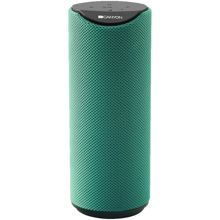 CANYON BSP-51 Bluetooth Speaker, BT V5.0, Jieli AC6925B, Built in microphone, TF card support, 3.5mm AUX, micro-USB port, 1200mAh polymer battery, Green, cable length 0.5m, 65*65*165mm, 0.326kg