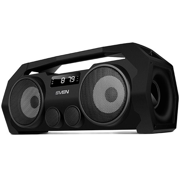 SVEN PS-465, black, power output 2x9W (RMS), Bluetooth, FM, USB, microSD, LED-display, lithium battery, SV-016173