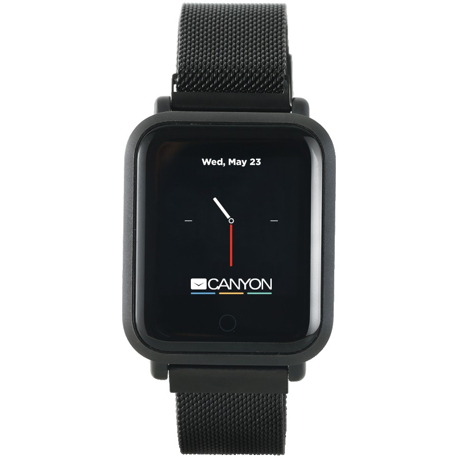 CANYON Sanchal SW-73 Smart watch, 1.22inch IPS full touch, 6H Glass,2 straps, metal strap and silicon strap, metal case, IP68 waterproof, multisport mode, camera remote, 150mAh, compatibility with iOS and android, Black, host: 42*35*11.4mm, belt: 222*18mm, 56.8g