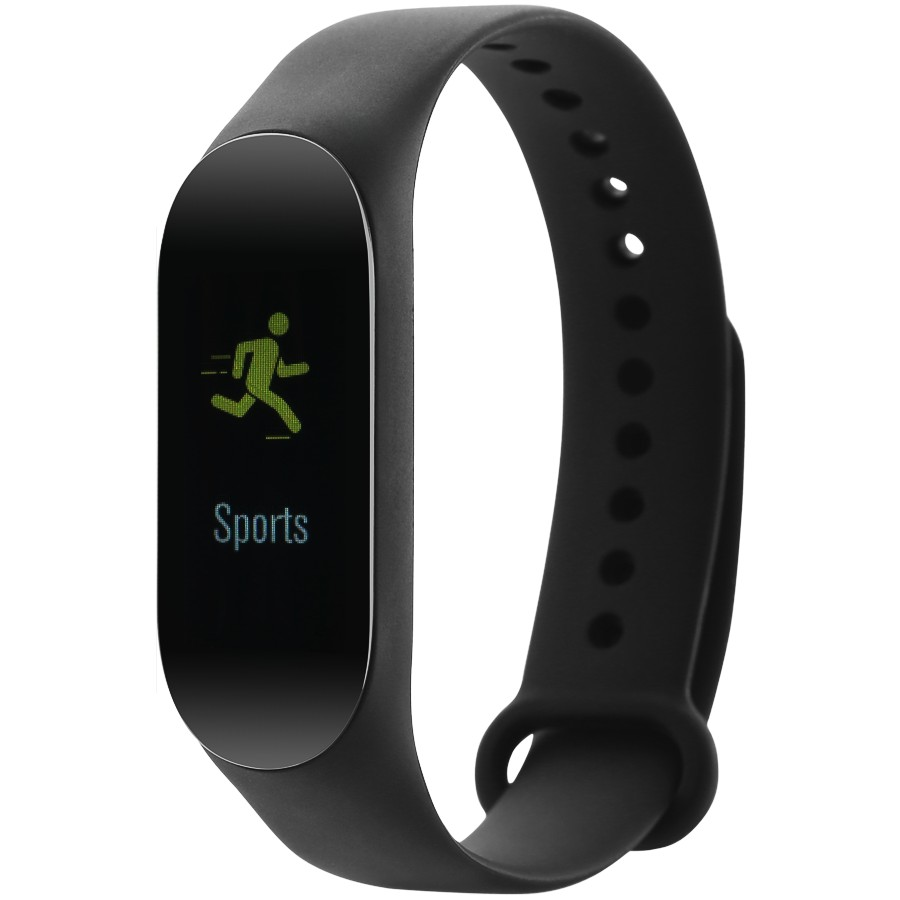 CANYON SB-02 Smart band, colorful 0.96 inch TFT, pedometer, heart rate monitor, 80mAh, multi-sport mode, compatibility with iOS and android, Black, host:40*15.5*10.5mm, strap: 233*12mm, 18g