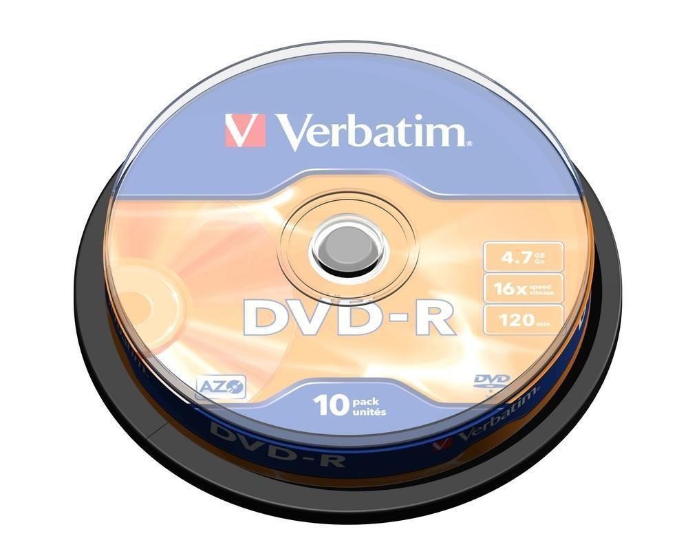 VERBATIM 10x DVD-R 4.7GB 120min 16x SP