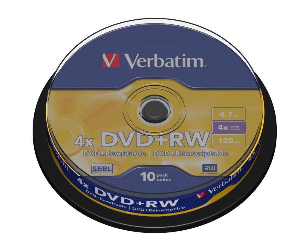 VERBATIM DVD+RW DLP 4.7GB SPINDLE 4X