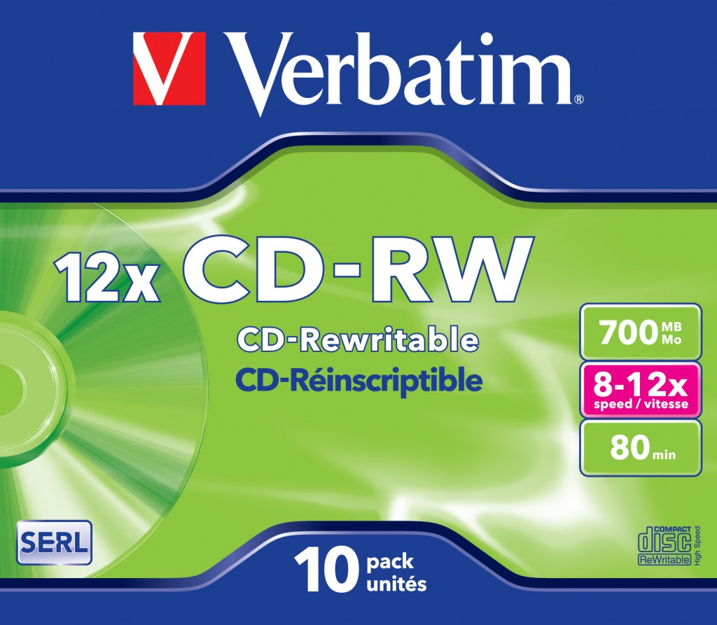 VERBATIM 10x CD-RW 700MB 12x JC