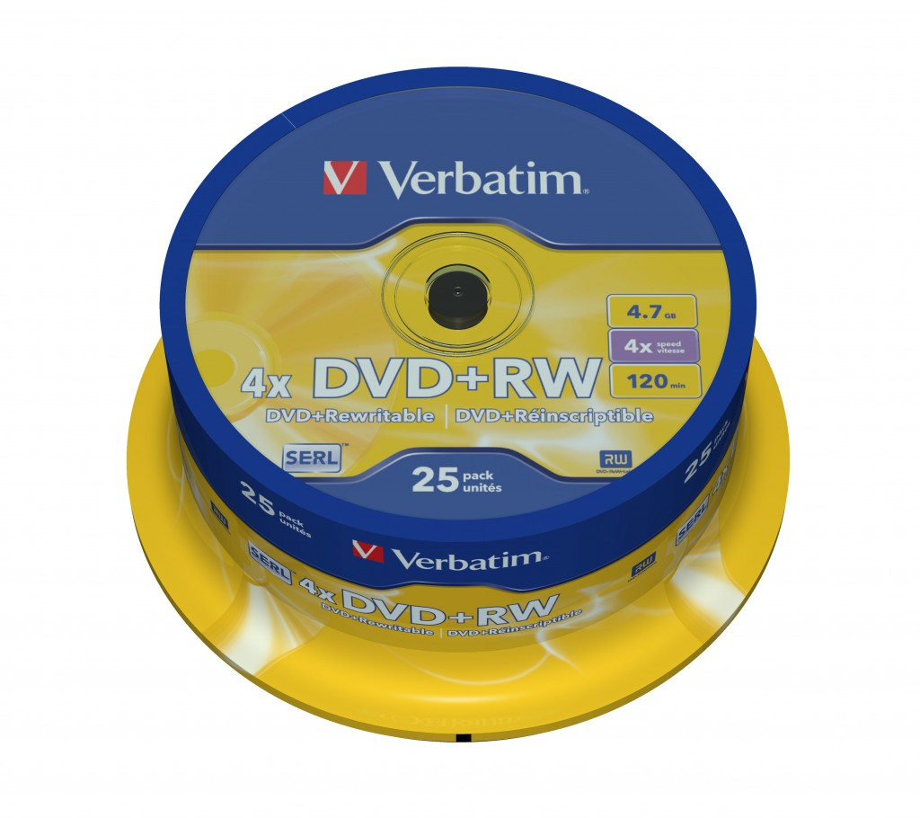 VERBATIM 25x DVD+RW 4,7GB 4x SP