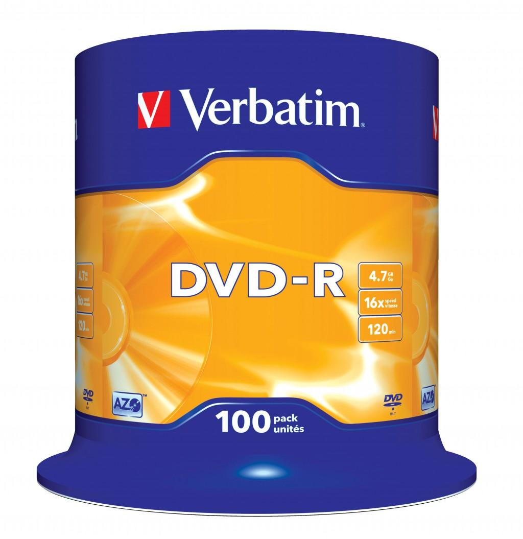 VERBATIM DVD-R 120min 4.7GB 16x100 pack