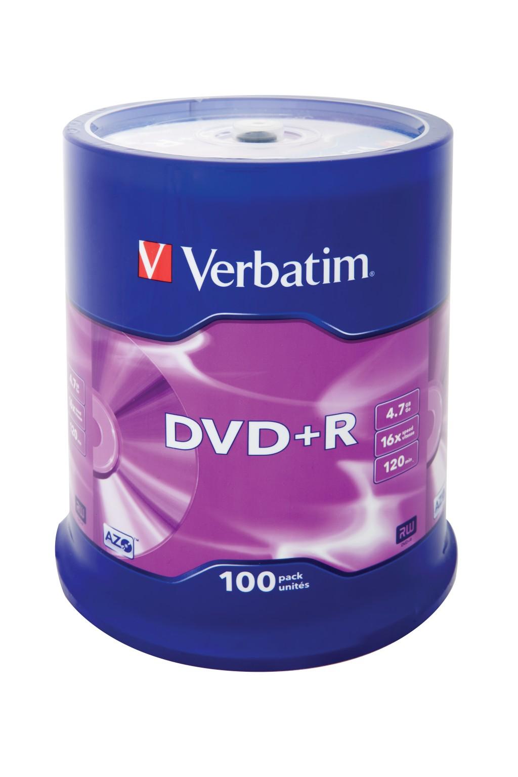 VERBATIM DVD+R 120 min. / 4.7GB 16x 100-