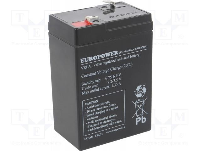 BATTERY 6V 4.5AH VRLA/EP4.5-6 EUROPOWER EMU