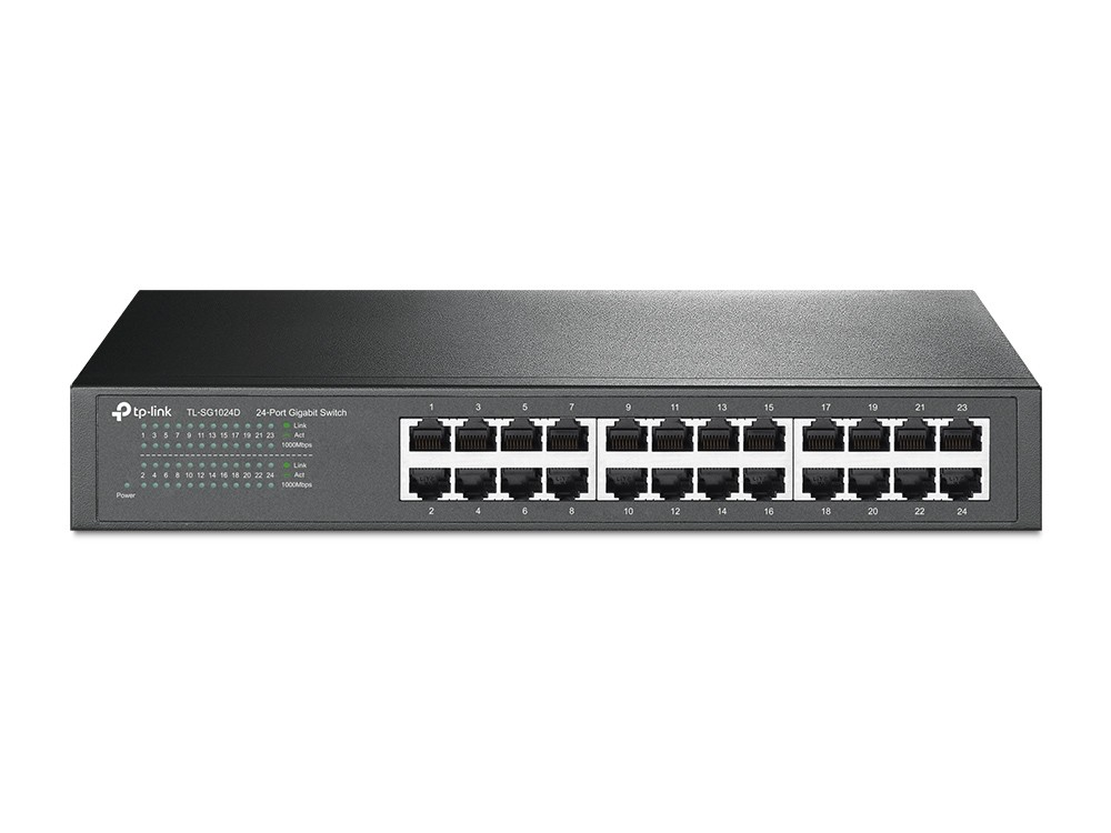 TP-LINK Switch TL-SG1024D Unmanaged, Rack Mountable, 1 Gbps (RJ-45) ports quantity 24
