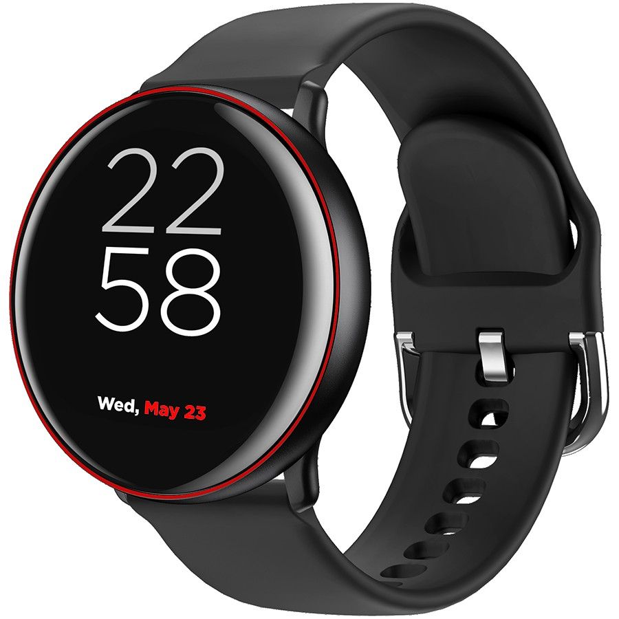 CANYON Marzipan SW-75 Smart watch, 1.22inches IPS full touch screen, aluminium+plastic body,IP68 waterproof, multi-sport mode with swimming mode, compatibility with iOS and android,black-red body with extra black leather belt, Host: 41.5x11.6mm, Strap: 240x20mm, 20.8g