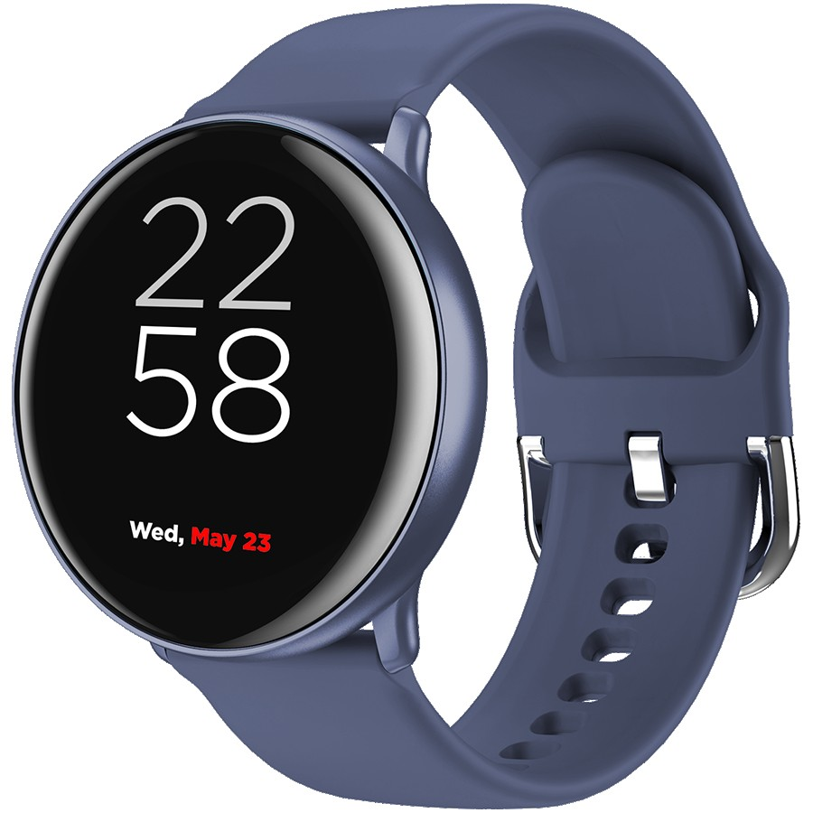 CANYON Marzipan SW-75 Smart watch, 1.22inches IPS full touch screen, aluminium+plastic body,IP68 waterproof, multi-sport mode with swimming mode, compatibility with iOS and android,Blue with extra blue leather belt, Host: 41.5x11.6mm, Strap: 240x20mm, 20.8g